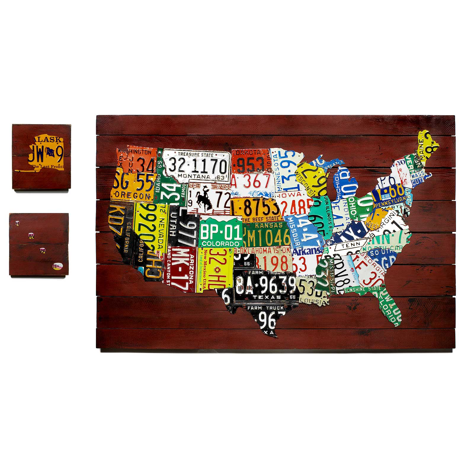 Reclaimed License Plate Map Decorative Us License Plate Map Features Authentic American Plates