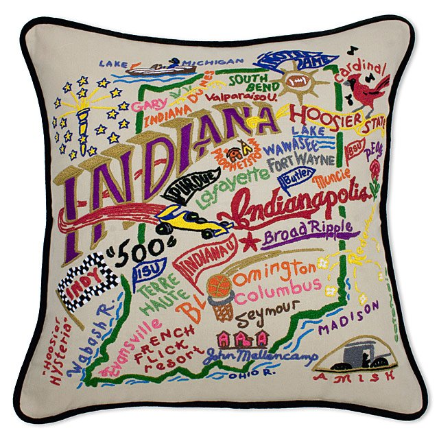 Hand Embroidered State Pillows 4