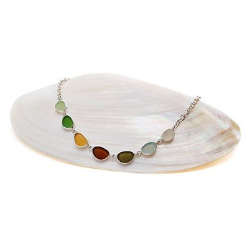 Earth Tones Sea Glass Necklace