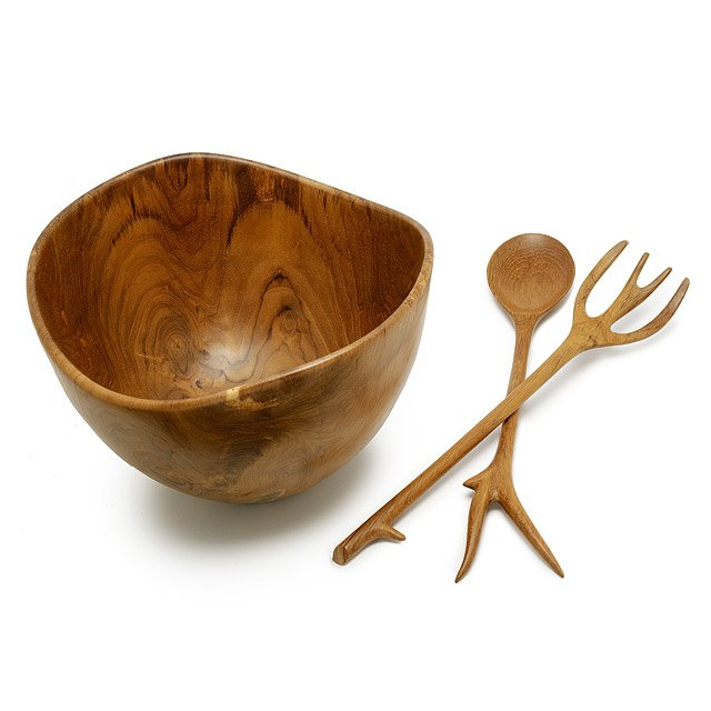 Teak Wooden Salad Bowl and Servers