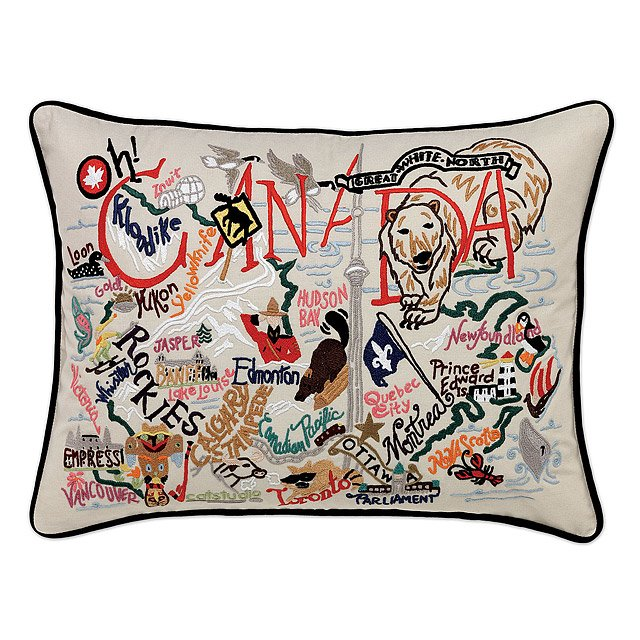 America & Canada Embroidered Pillows 2