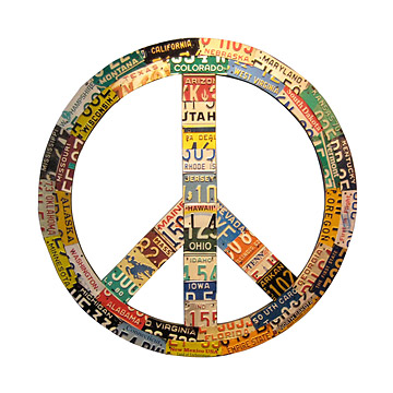 Recycled License Plate Peace Sign