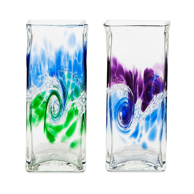 Swirling Sea Glass Vases