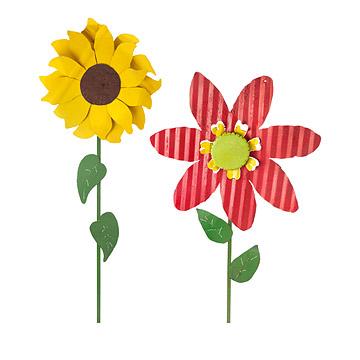Oversized Tin Flowers - Sunflower & Zinnia