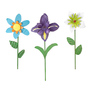 Oversized Tin Flowers - Iris, Lily, Daisy