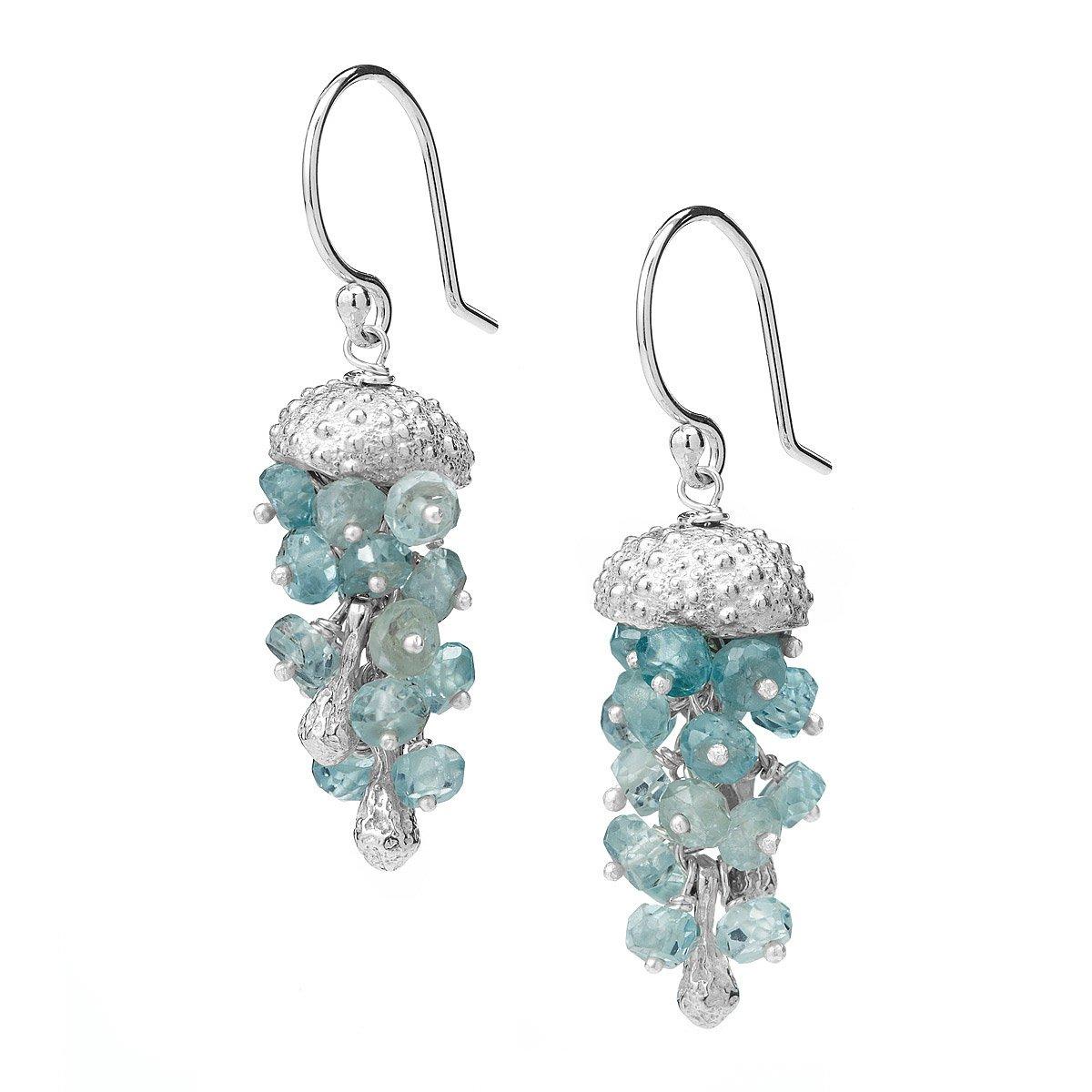 Jellyfish Earrings Silver Jewelry Sea Urchin Fish