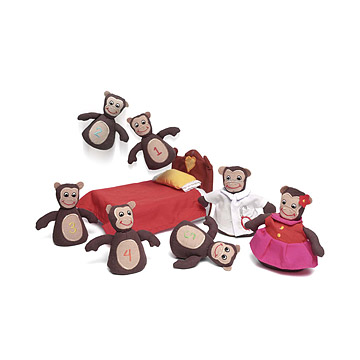 Monkeys on the Bed Plush Toy Set