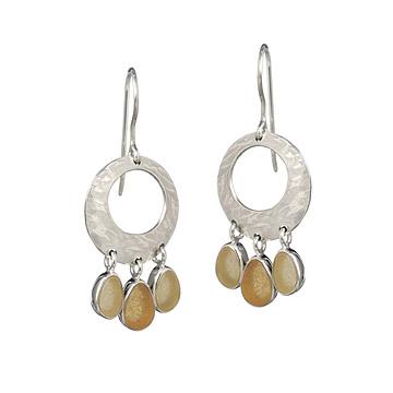 Sea Glass Hammered Hoop Earrings