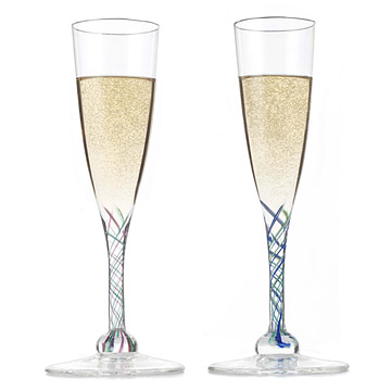 Ribboned Glass Champagne Flutes