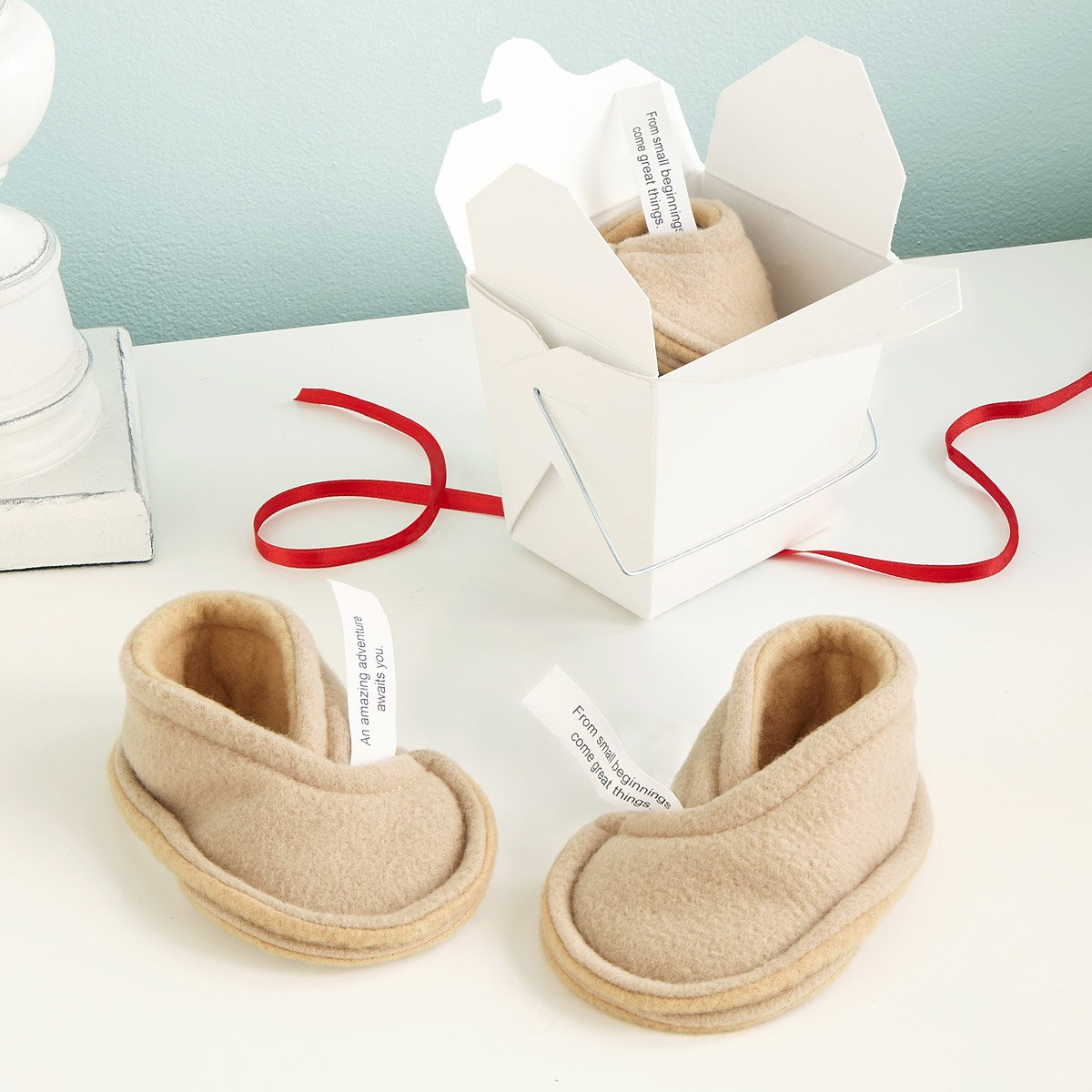 Fortune cookie baby booties!!