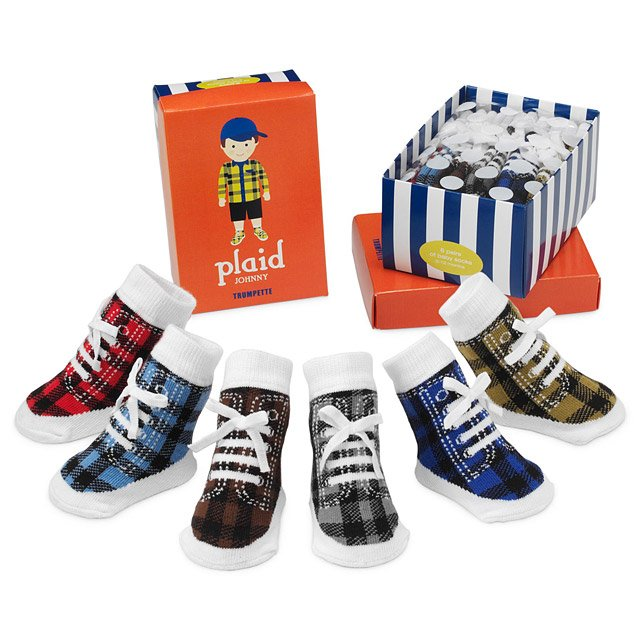 Plaid Johnny Socks - Set of 6