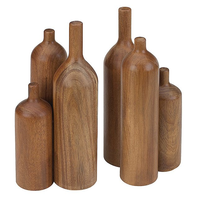 Wood Bottle Bookends - Set of 2