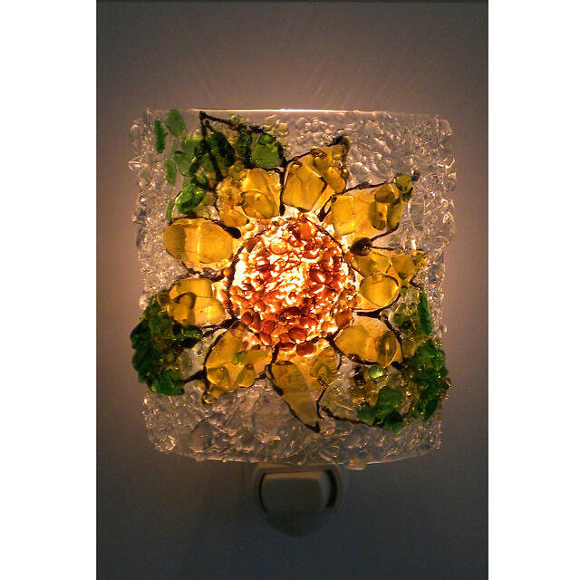 Recycled Glass Flower Night Lights 2