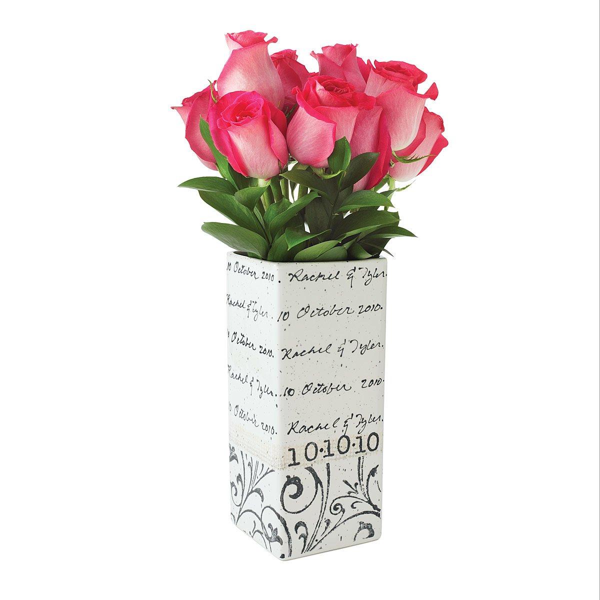 Wedding Gift Vase: Personalized Cursive Wedding Vase