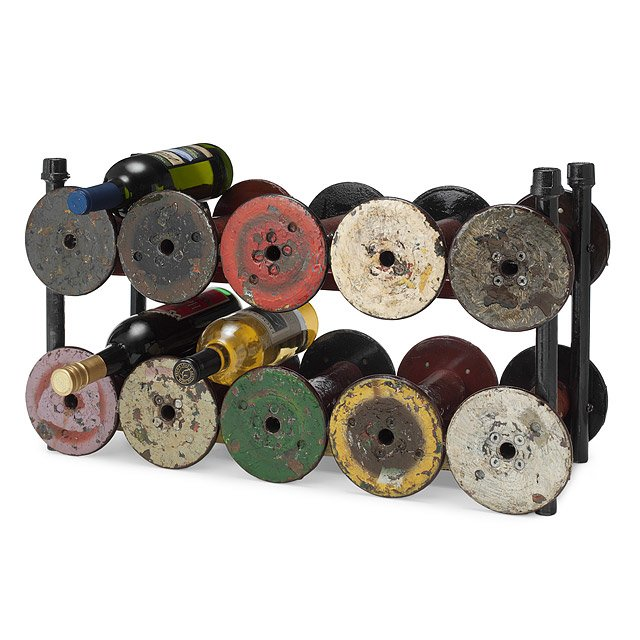 Reclaimed Textile Spool Wine Rack