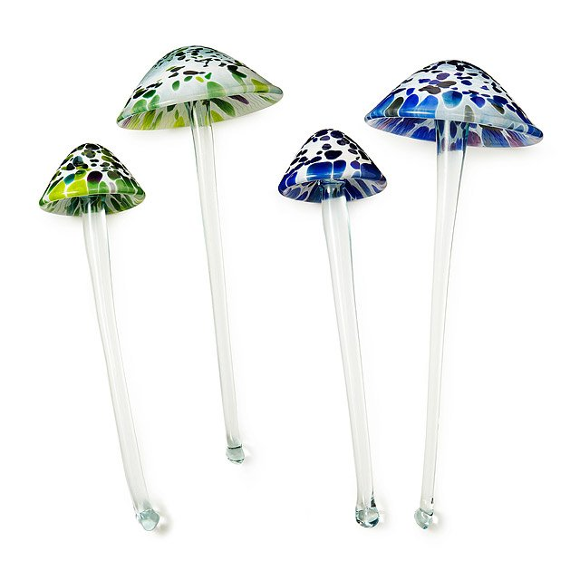 Recycled Glass Garden Toadstools