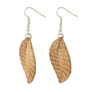 Golden Grass Leaf Earrings