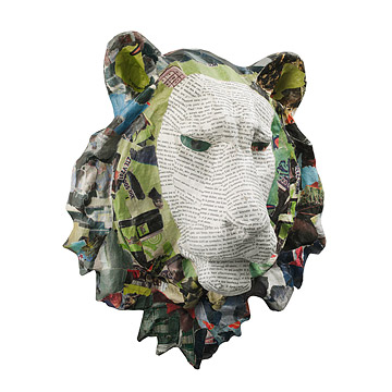 Recycled Paper Lion Head