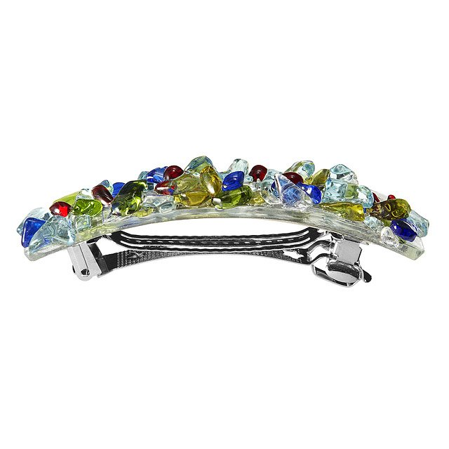 Multicolored Recycled Glass Barrette 2
