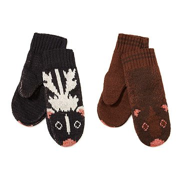 Recycled Cotton Animal Mittens - Skunk and Mink