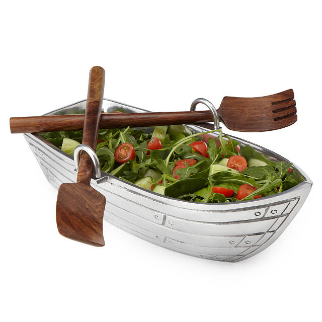 Row Boat Serving Bowl with Wood Serving Utensils 2