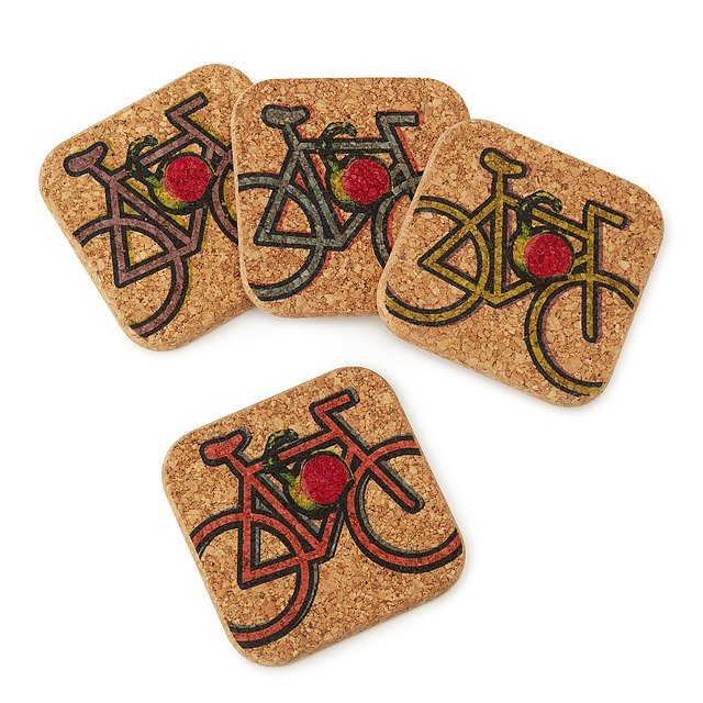 Bike Cork Coasters - Set of 4