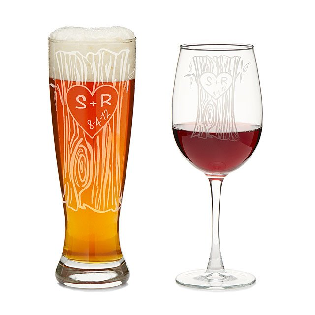 Personalized Tree Trunk Glassware Duo 2