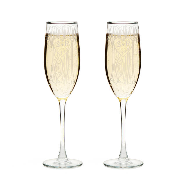 Etched Champagne Flutes - Set of 2 2