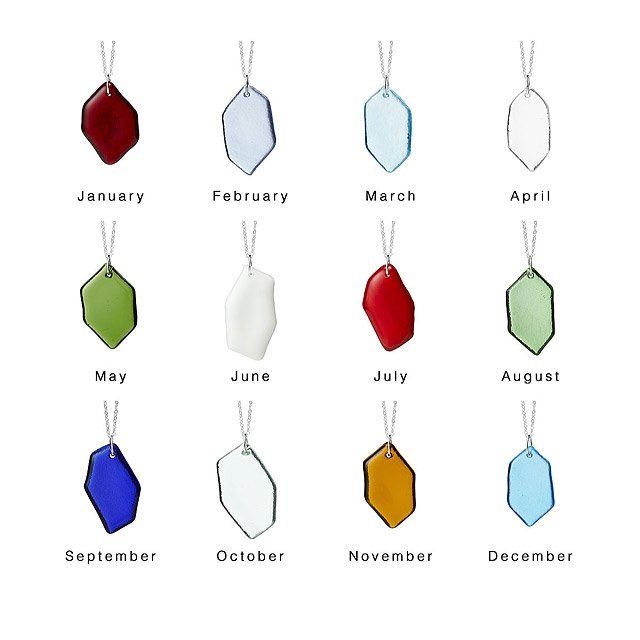 Recycled Glass Birth Month Pendant 2