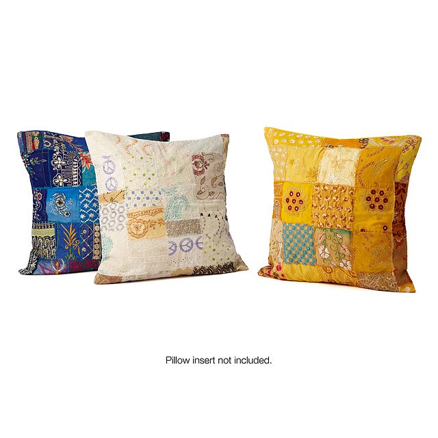 Upcycled Vintage Sari Patch Pillow Covers 2