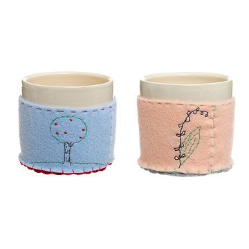 Ceramic Cups with Embroidered Cozies