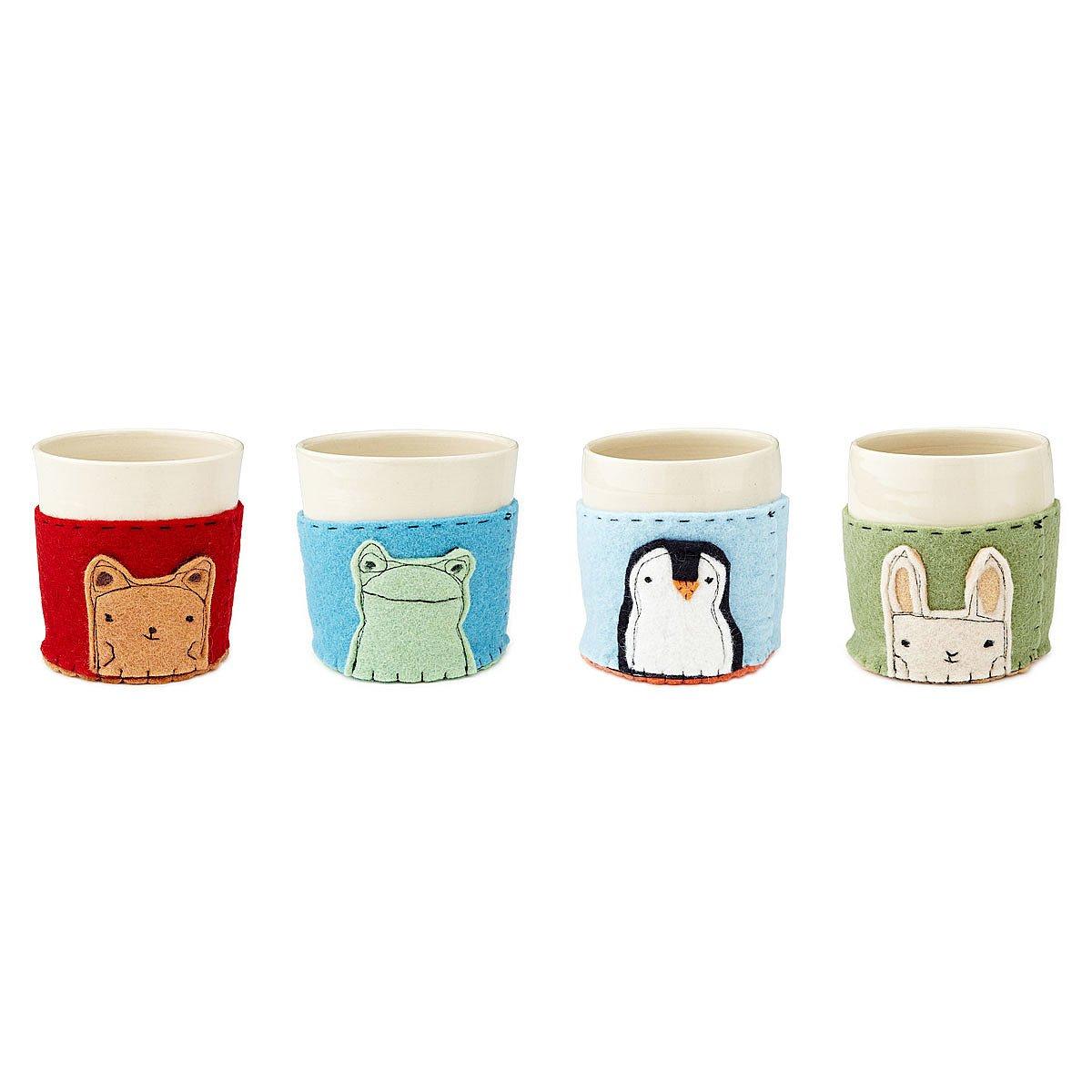 Ceramic Cups With Felt Applique Cozies Handmade Sleeve