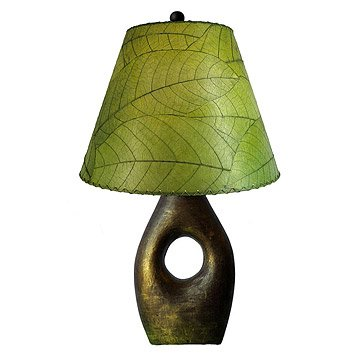 Earthenware Base with Cocoa Leaf Shade Lamp