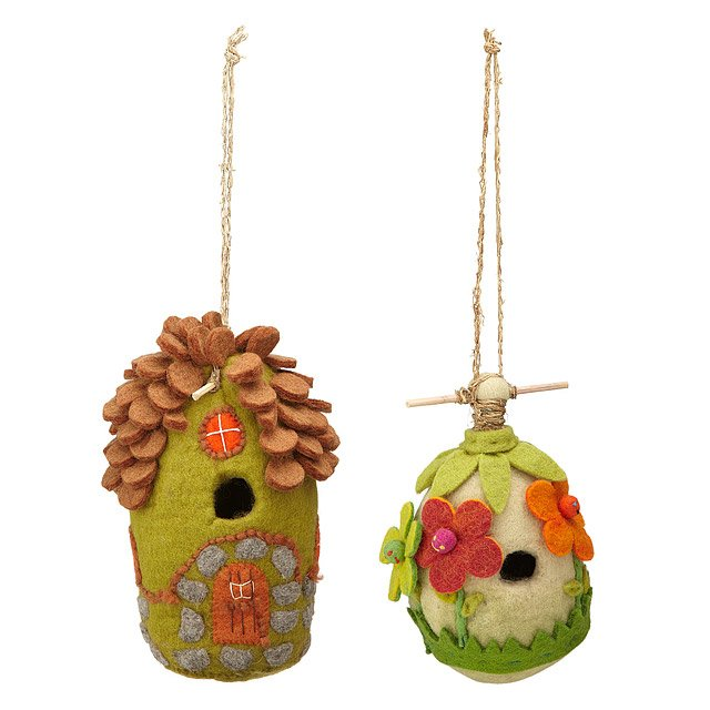 Felt Birdhouses-Flower & Cottage