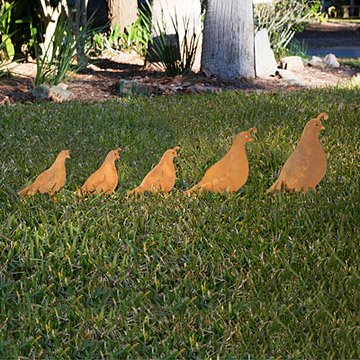 Quail Set Garden Sculpture