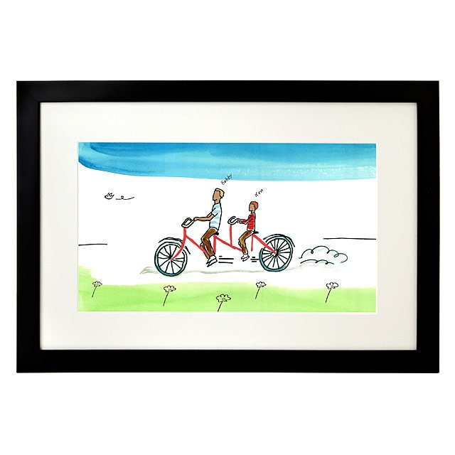 Personalized Family Tandem Bike Art 2