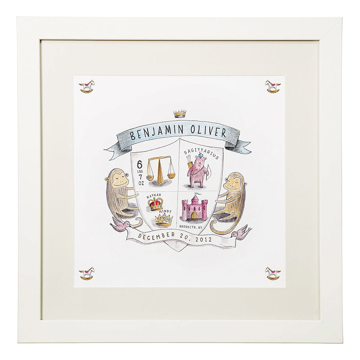 Coat of Arms Personalized Birth Announcement – Personalized Baby Announcement Gifts