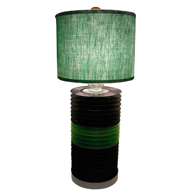 Reclaimed Colored Record Table Lamp