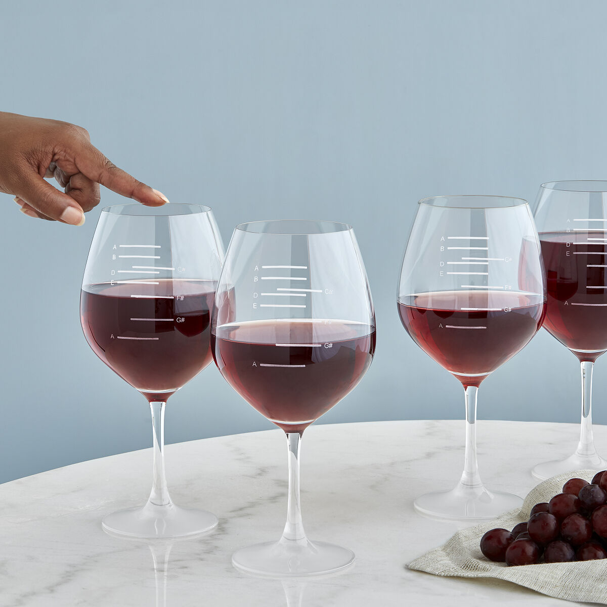 Major Scale Musical Wine Glasses Set Of 2 Etched Red Wine