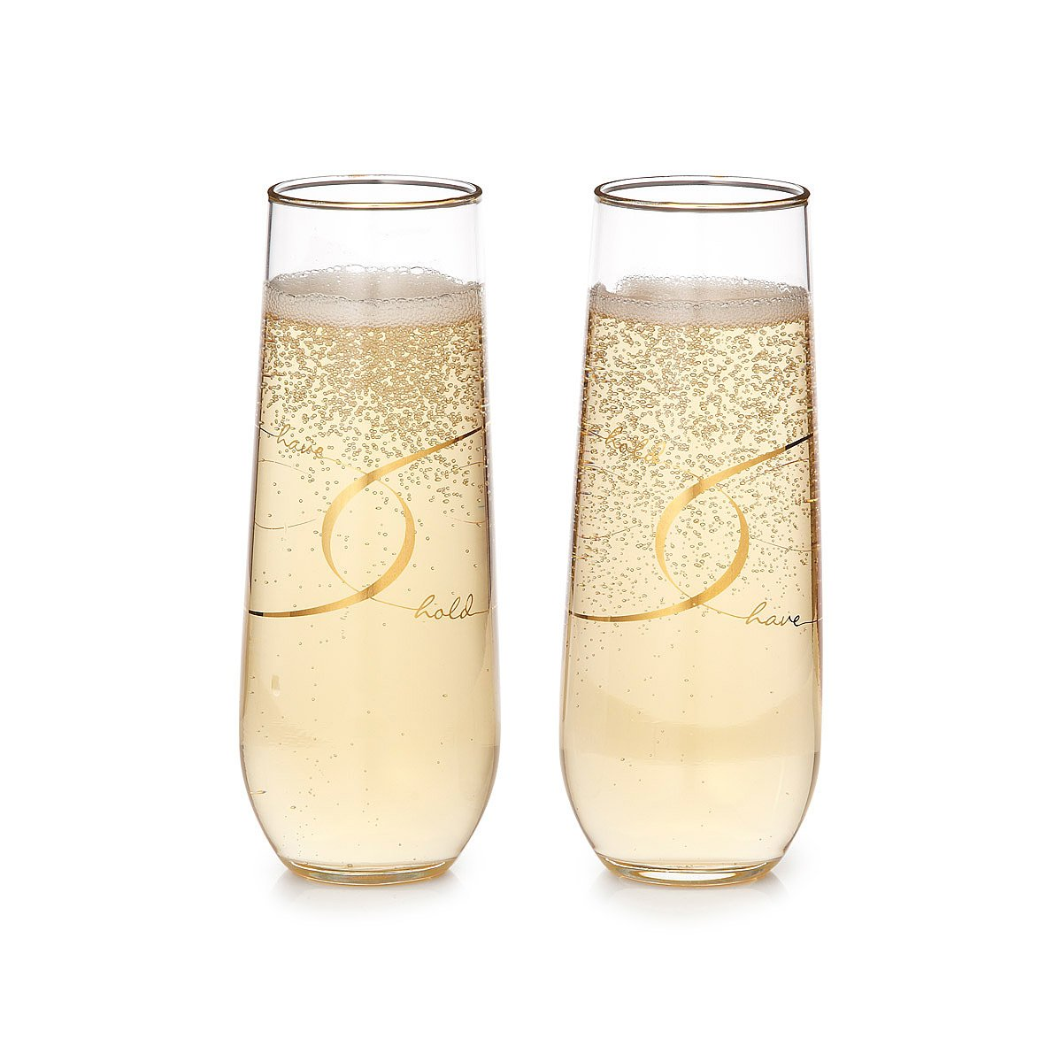 Have & Hold Stemless Champagne Flutes - Set of 2