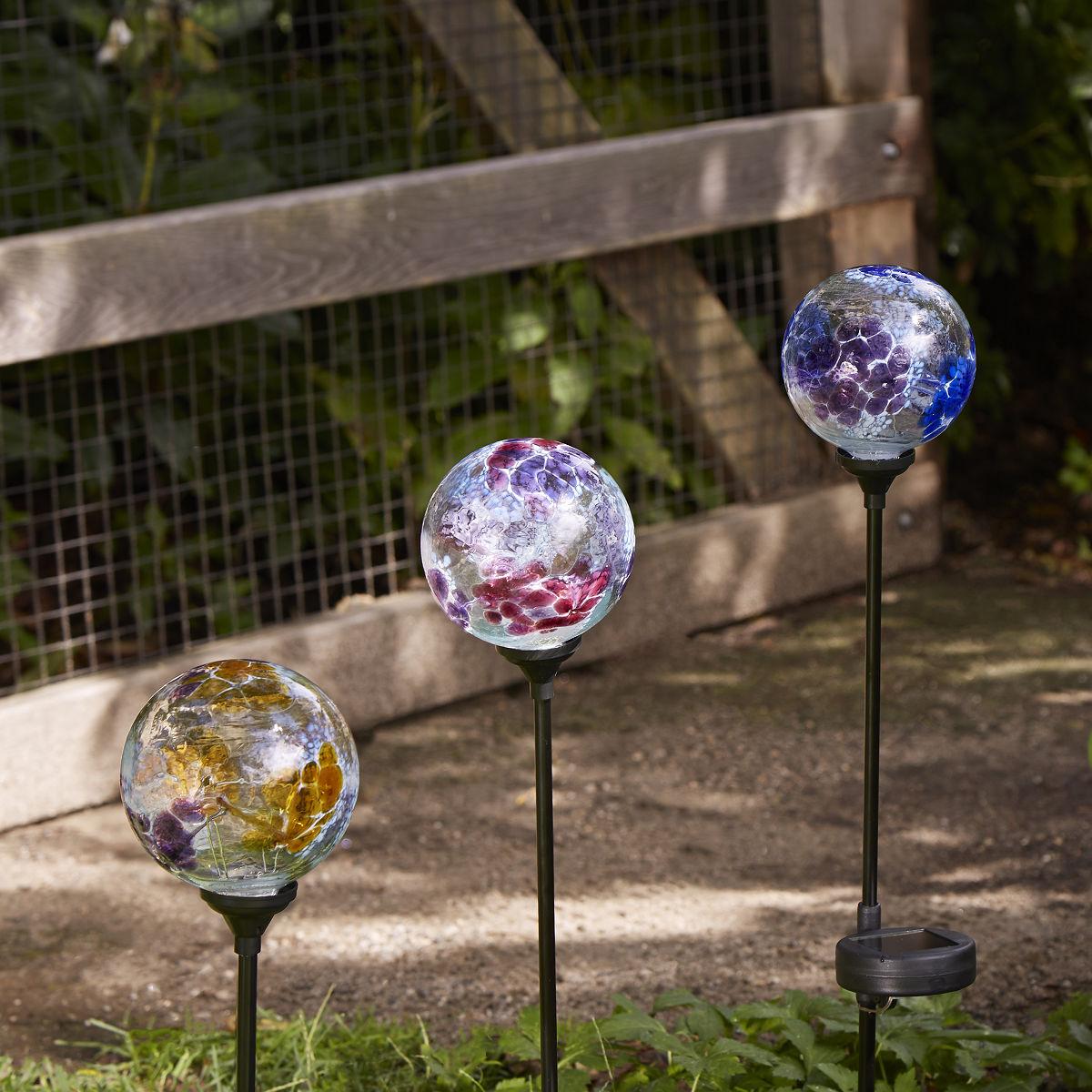 Solar Light Garden Stake Flower Globes garden art