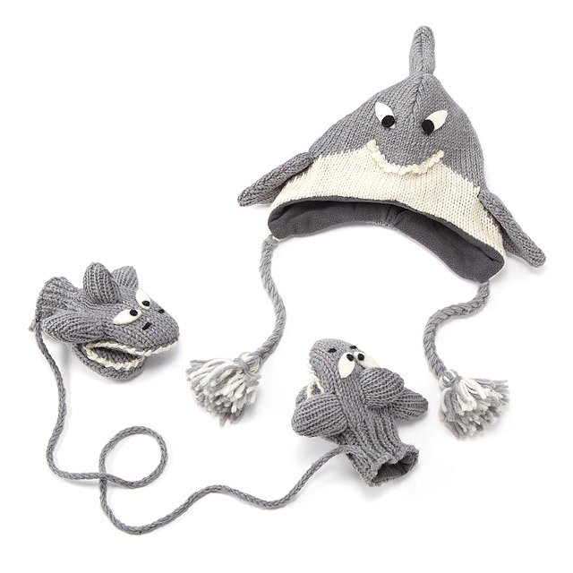 Shark Hat and Mittens