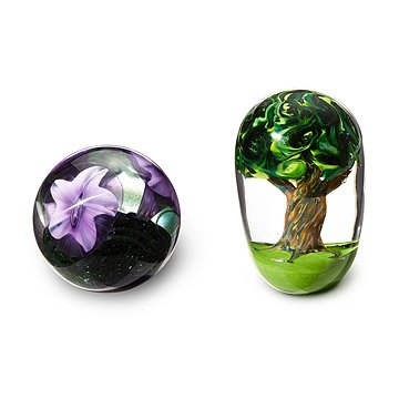 Flower and Tree Glass Paperweights