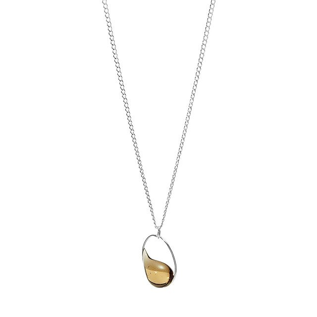 Raindrop in Oval Necklace - Sterling Silver