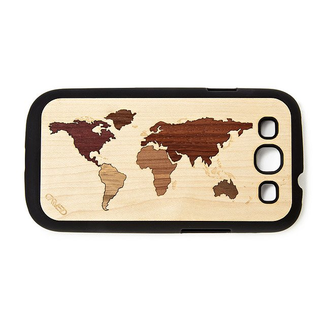 World Map Inlay Wooden iPhone Case 2
