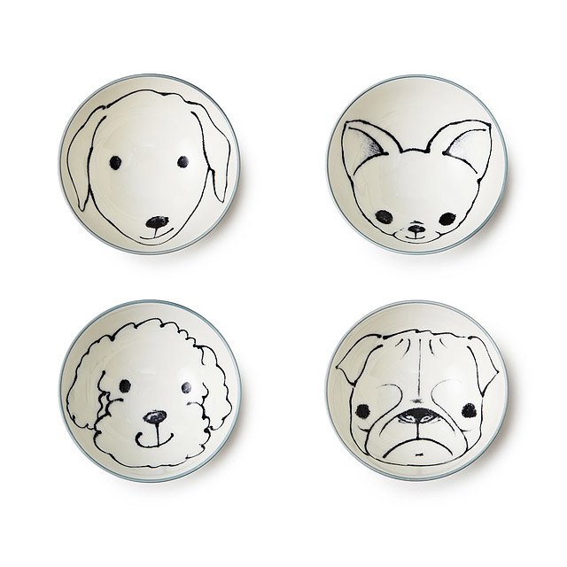 Set of 4 Bowls - Dogs 2