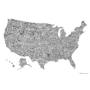 USA Word Map Poster