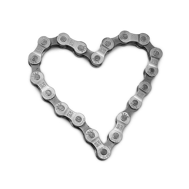 Bike Chain Heart Paperweight