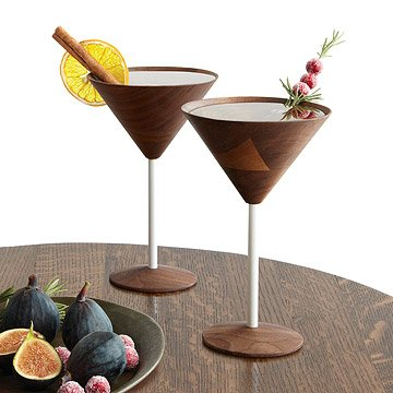 unique martini glasses stainless steel wooden martini glasses set of black walnut barware uncommongoods