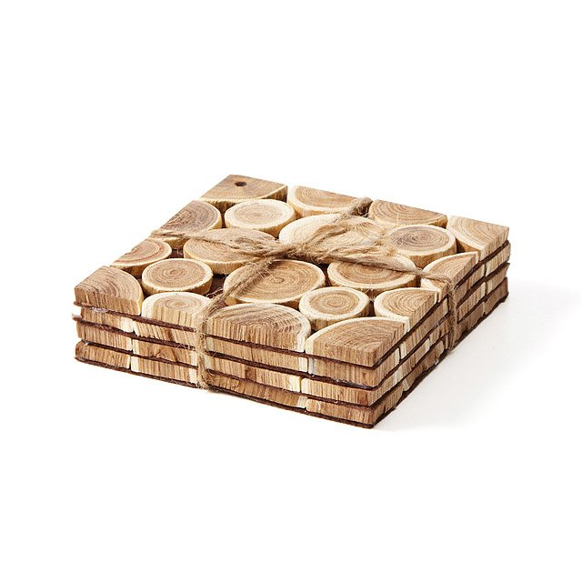 Reclaimed Wood Branch Coasters - Set of 4 2